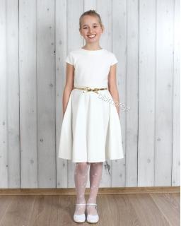 Prosta sukienka ze złotym paskiem 122 - 158 Kamila ecru