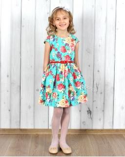 Kwiecista sukienka dla dziewczynki 104 - 140 Nikola lazur