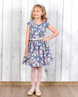 Kwiecista sukienka dziewczęca 104 - 140 Nikola niebieska