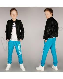 Modne spodnie dresowe na gumce 116 - 152 spd02 turkus