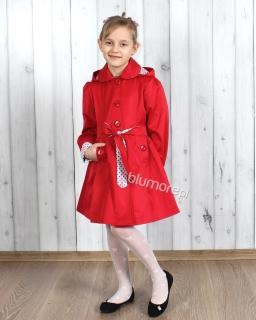 Wiązany płaszczyk wiosenny 122 - 158 Wanessa czerwony