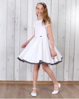 Wirująca sukienka dziewczęca 128 - 158 Oleńka biała