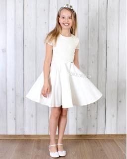 Urocza koronkowa sukienka 128 - 158 Jasia śmietankowa