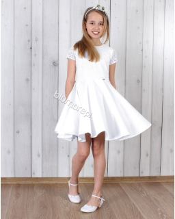 Sukienka pokomunijna - hit 128 - 158 Jasia biała