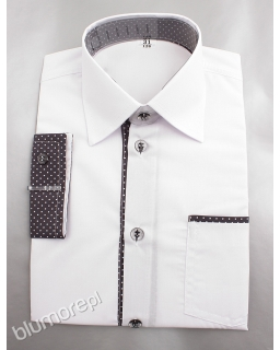 Biała koszula z grafitowymi wstawkami 122-158