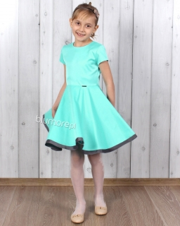 Elegancka sukienka szyta z koła 110 - 158 Oleńka mięta