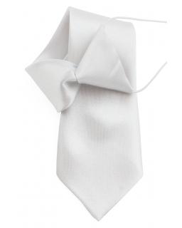 Krawat dziecięcy na gumce 30 cm srebrny
