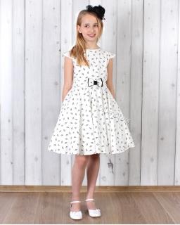Sukienka w klucze wiolinowe 128 - 158 Nutka ecru