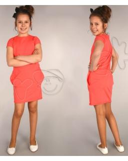 Sportowa sukienka z kieszeniami 116 - 158 Beatka morela
