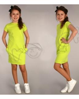 Dzianinowa sukienka tuba 116 - 158 Beatka limonka