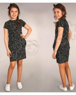 Tulipanowa sukienka w mazaki 116 - 158 Beatka czarna