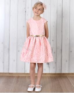 Sukienka z wyjątkowej tkaniny 104 - 140 Róża pudrowy róż