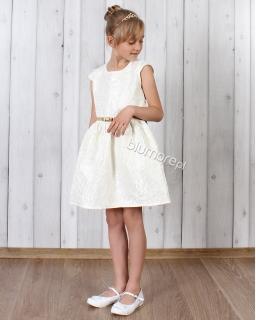 Sukienka z pięknej tkaniny 104 - 140 Róża śmietankowa