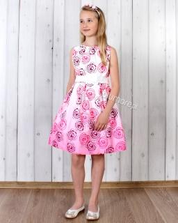 Elegancka sukienka dziewczęca 140 - 158 Zosia biało-różowa