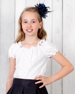 Haftowana bluzeczka dziewczęca 128 - 158 Anielka biel