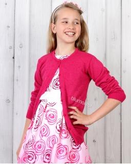 Elegancki sweter dziewczęcy 98 - 146 DZ-343 fuksja