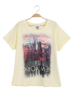 Modny T-shirt letni 152 - 170 BGPO-7802 żółty
