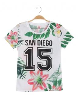 Sportowy T-shirt 152 - 170 BGPO-8437 biel w kwiaty
