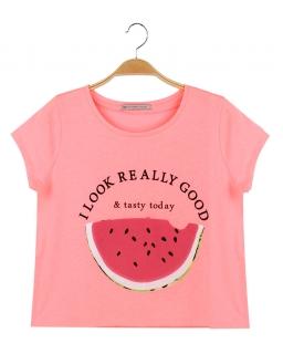 Neonowy T-shirt z arbuzem 152 - 170 BGPO-8267 róż