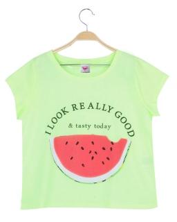 Neonowy krótki T-shirt 152 - 170 BGPO-8267 zieleń
