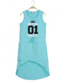 Asymetryczna sukienka letnia 116-128 GYQ-8634 turkus