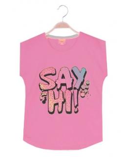 Fajny T-shirt na lato 116-128 GBX-8622 róż