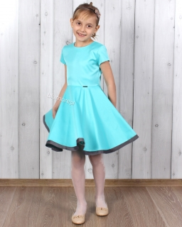 Elegancka sukienka szyta z koła 98 - 158 Oleńka turkus