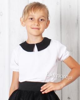 Elegancka bluzka z modnym kołnierzem 128 - 152 Jola biała