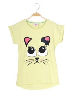Wakacyjna bluzka z kotkiem 110 - 122 GPO-8612 żółty