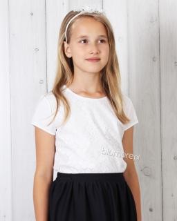 Bluzka z oryginalną aplikacją do szkoły 128 - 152 Mila biała