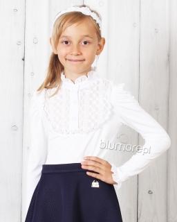 Niepowtarzalna bluzka do szkoły 128 - 152 Aneta biała