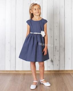 Sukienka w groszki z modnym paskiem 62 - 152 Lucyna granat