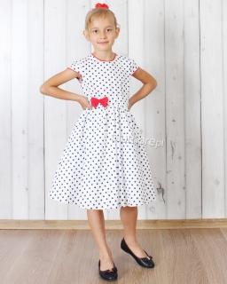 Bawełniana sukienka w granatowe grochy 80 - 146 Kasia biała