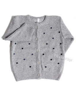 Sportowy sweterek w groszki 80 - 104 Moli szary