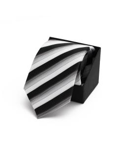 Wiązany krawat dla chłopca KR-02 czarny plus srebrny
