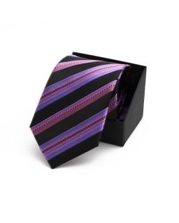 Elegancki krawat chłopięcy w paski KR-04 czarny plus fiolet