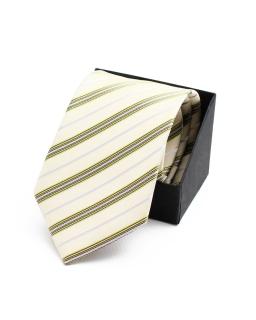 Prążkowany krawat do garnituru KR-13 pistacja