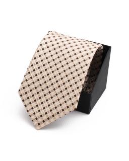 Wiązany krawat do garnituru KR-13 brąz