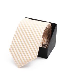 Wiązany krawat w paski KR-15 miodowy