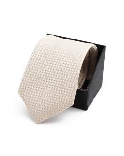 Wiązany krawat w kwadratowy wzór KR-16 beż