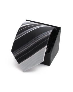 Krawat wizytowy KR-18 czarny plus srebrny