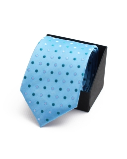 Krawat w delikatne grochy KR - 20 niebieski