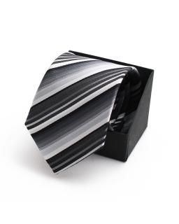 Modny krawat okolicznościowy KR-26 czarno-srebrny