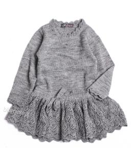 Ażurowa sukienka dla dziewczynki 92- 122 Zuzia szara