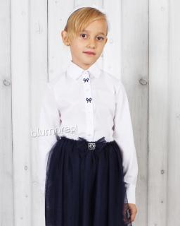 Elegancka koszula z ozdobnymi kokardkami 128-158 Żanetka biel