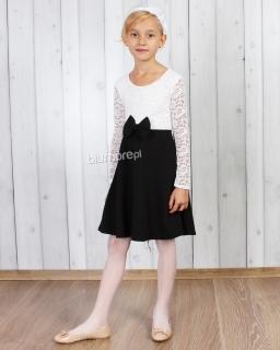 Dwukolorowa sukienka z koronkową górą 2w1 92-164 Gracja biel i czerń