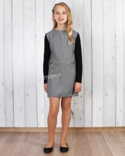 Prosta sukienka z długim rękawem 134 - 158 Wiktoria czarna