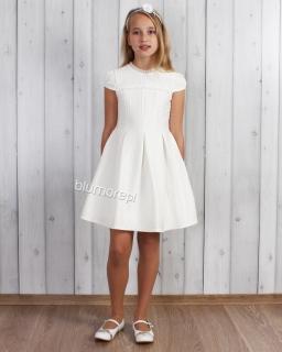 Koktajlowa sukienka z wytłaczanego materiału 128 - 152 Karolina ecru