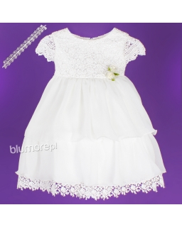 Najpiękniejsza suknia dla dziewczynki z koronki 62 - 80 Ewa ecru