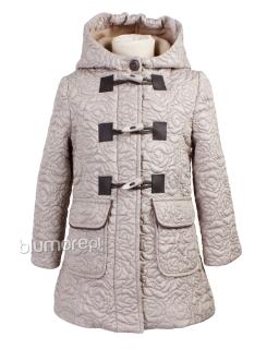 Zapinany płaszcz z kapturem dla dziewczynki 110 - 140 Dakota beż